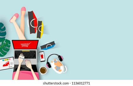 Online shopping concept of woman holding credit card and using laptop computer vector illustration