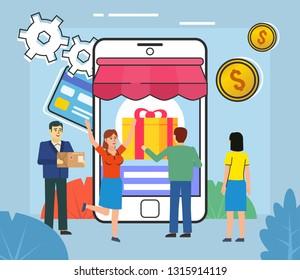 Online shopping, credit card, coins. People stand near big smartphone. Poster for web page, banner, social media, presentation. Flat design vector illustration