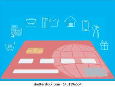 Online shopping with credit card, flat vector illustration  design,isolated infographic