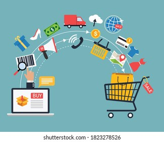 Online shopping and delivery banners. E-commerce and digital marketing. Order products to cart. vector illustration in flat style modern design. business and finance concept.