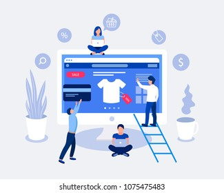 Online shopping design concept. Small people buy things on the site. Laptop screen with open site with goods t-shirt. Flat design. Vector illustration.