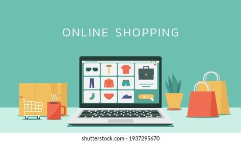 online shopping or digital store on computer laptop concept, men fashion products from e-shop with icons and goods, vector graphic flat design illustration