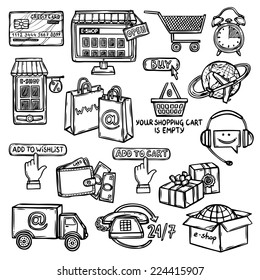 Online shopping e-commerce advertising commercial services sketch decorative icons set isolated vector illustration