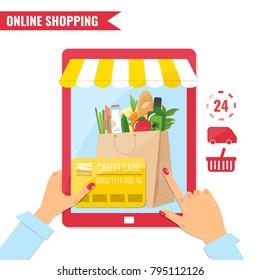 Online shopping, e-commerce concept