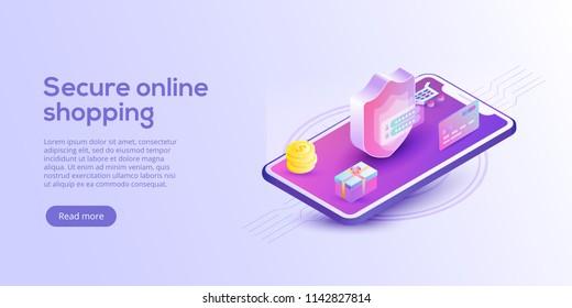 Online shopping or e-commerce isometric vector illustration. Internet store payment procedure  concept with smartphone and gift box. Secure bank transaction app with password verification.