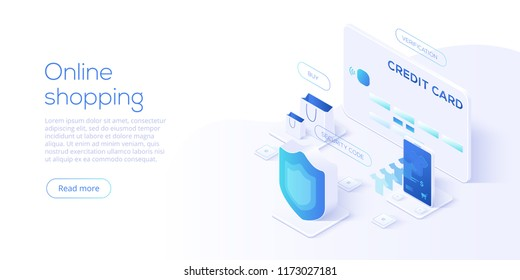 Online shopping or e-commerce isometric vector illustration. Internet store checkput procedure  concept with smartphone and bag. Credit card payment transaction via app.