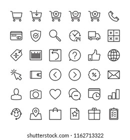Online shopping and e-commerce line icons set