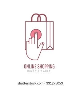 Online shopping and e-commerce linear style illustration. Vector logo design template. Hand pointer symbol and shopping bag. Design concept for buying goods via internet shop.