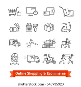 Online shopping, ecommerce, services and delivery transportation set. Thin line art icons. Linear style illustrations isolated on white.