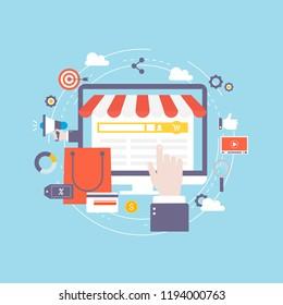 Online shopping, e-commerce, shop online, internet store flat vector illustration design. Design for web banners and apps