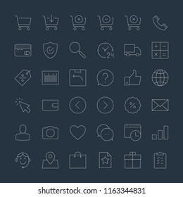 Online shopping and e-commerce thin line icons set on dark background