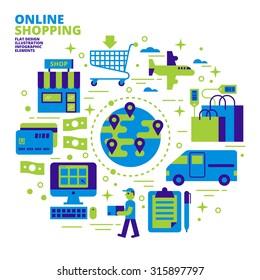 Online Shopping, Flat Design, Illustration