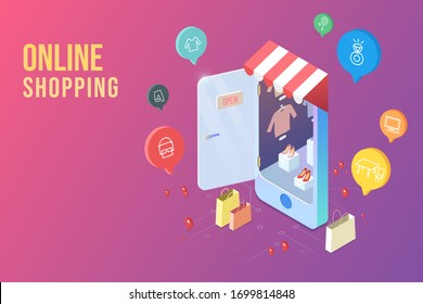 online shopping with flat icon and all in one picture