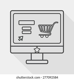 online shopping flat icon with long shadow, line icon