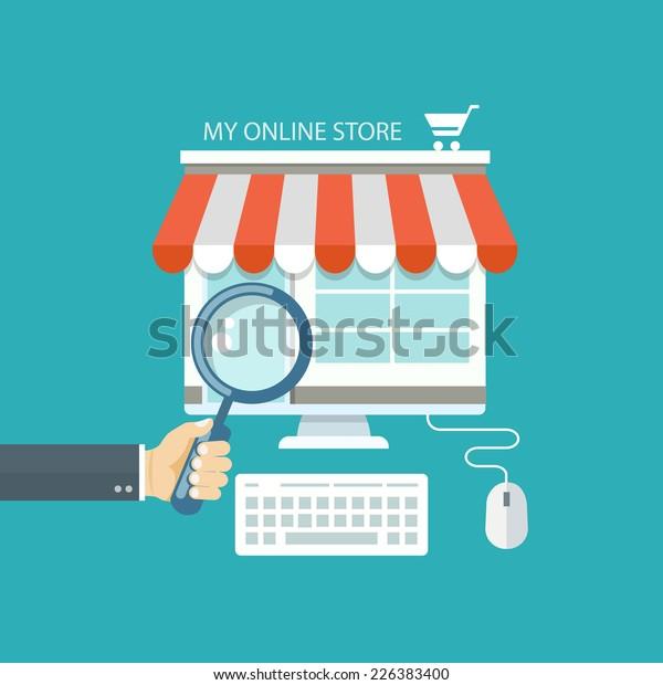 Online shopping flat illustration. Eps10