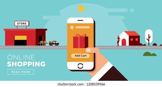 Online Shopping Flat Web Header Design