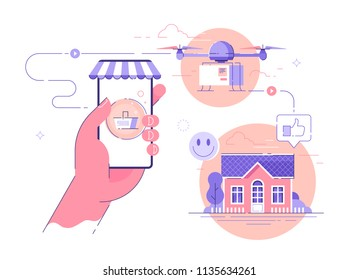 Online shopping and goods shipping. Drone delivery and logistics concept vector illustration.