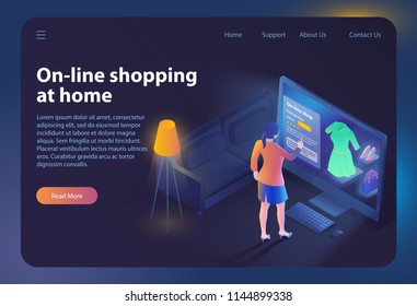 Online Shopping at Home. Ecommerce Sales, Online Shopping, Digital Marketing. Sale and Consumerism Concept. Online Purchase in clothing Store. Online Shop App. Vector Illustration. Landing Page Banner