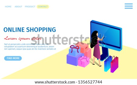 Online Shopping Horizontal Banner Copy Space Stock Vector