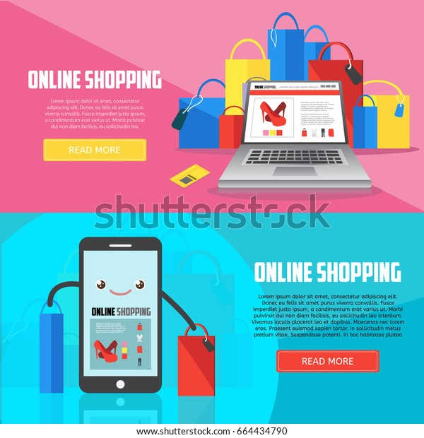 Online shopping horizontal banners with laptop, smartphone and purchases. E-commerce business concept. Online shopping creative vector illustration.