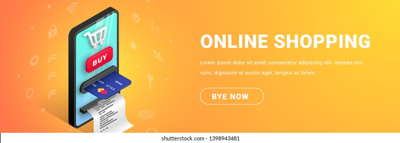 Online shopping horizontal web banner design concept. Online internet payment Isometric template with smartphone integrated ATM, shopping cart, credit card, receipt, text. Vector illustration