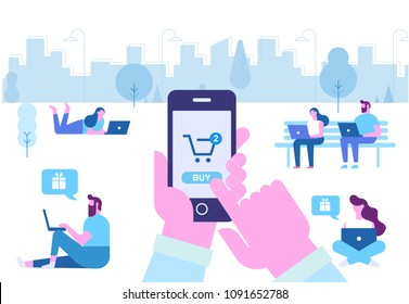 Online Shopping. Human hand using mobile phone for purchase.  Different People do mobile shopping. Flat Vector cartoon illustration.