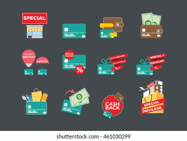 Online shopping icon, Credit card and Promotions.