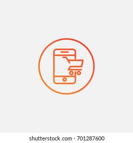 Online shopping icon.gradient illustration isolated vector sign symbol