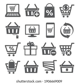 Online shopping icons on white background