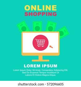 Online shopping illustration banner and poster design