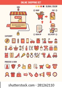 online shopping infographic elements for kid including categories and marketing tools
