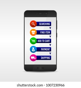 Online Shopping instructions, how to order. With realistic mobile phone vector illustration.