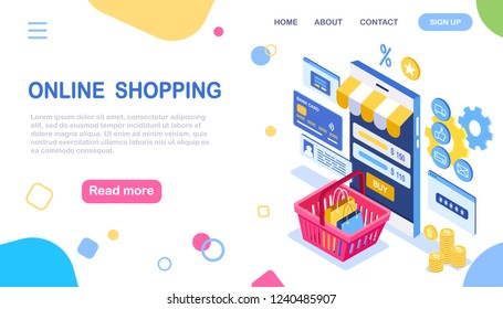 Online shopping. Isometric 3d mobile phone with shopping bag, basket, credit bank card, money isolated on white background. Internet store. Security network, personal access, password. Vector design