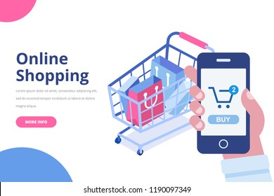 Online shopping isometric concept. Shopping cart with bags. Man's hand with mobile phone. Flat  vector design isolated on white background.