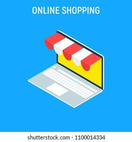 Online shopping isometric concept laptop. Flat design graphic elements, signs, symbols, line icons set. Vector illustration