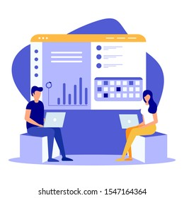 Online shopping isometric concept. People making online shopping. Isometric Man and woman with laptop. Flat vector design isolated on white background.