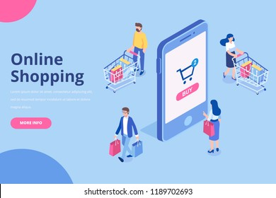 Online shopping isometric concept.  Isometric  Women and men characters with shopping bags and shopping carts. Flat vector illustration.
