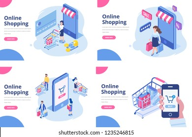 Online shopping isometric concept. Isometric Women and men characters with shopping bags and shopping carts.  Different People making online shopping. Big Sale. Flat vector design.