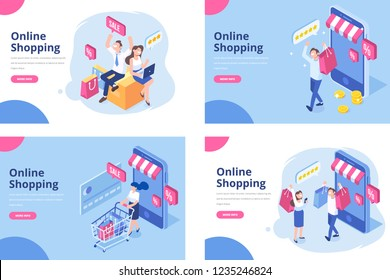 Online shopping isometric concept. Isometric Women and men characters with shopping bags and shopping carts. \t\nDifferent People making online shopping.\nBig Sale. Flat vector design.