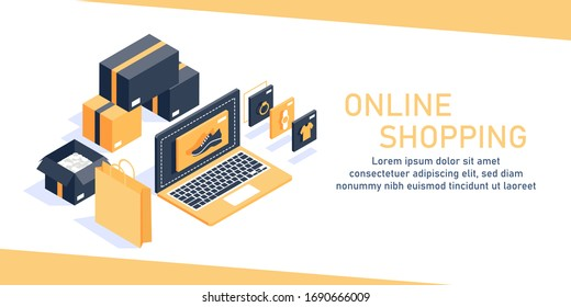 Online shopping isometric concept,Concept of e-commerce sales,digital marketing,flat design icon vector illustration