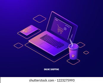 Online shopping isometric icon internet purchase, laptop with shop basket on screen, online payment, credit card dark neon vector