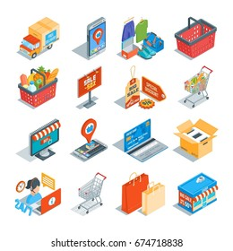 Online shopping isometric icons set. Customer support e-commerce consepts. Highly detailed vector illustration