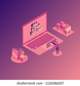 Online shopping isometric illustration with laptop, stores orders, buyer with credit card isolated vector illustration