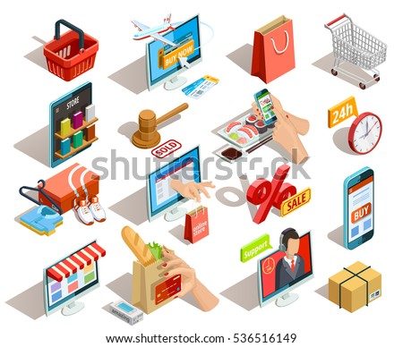 online shopping isometric shadow icons collection のベクター画像