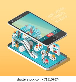 Online shopping isometric shadow illustration with mobile phone stores orders isolated vector illustration