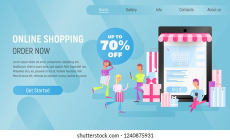 Online Shopping Landing Page. E-commerce Concept. Young People Making Purchases using Mobile Phones near Big Smartphone. Blue Gradient Background. Vector Illustration for Mobile Apps, Web Site Design.