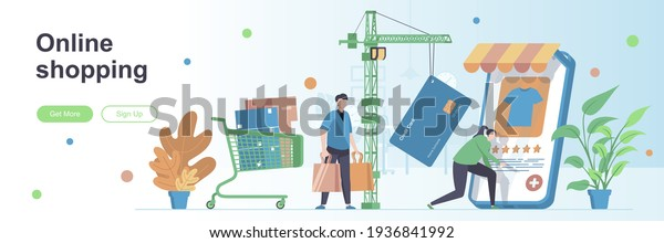 Online shopping landing page with people characters. Internet marketplace web banner. Online order and customer payment vector illustration. Flat concept great for social media promotional materials.