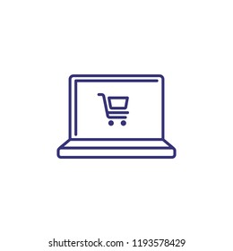 Online shopping line icon. Order online, food delivery, e-commerce. Shopping concept. Vector illustration can be used for topics like retail, technology, internet