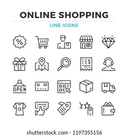Online shopping line icons set. Modern outline elements, graphic design concepts, simple symbols collection. Vector line icons