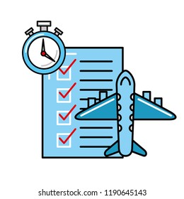 online shopping logistic airplane check list clock